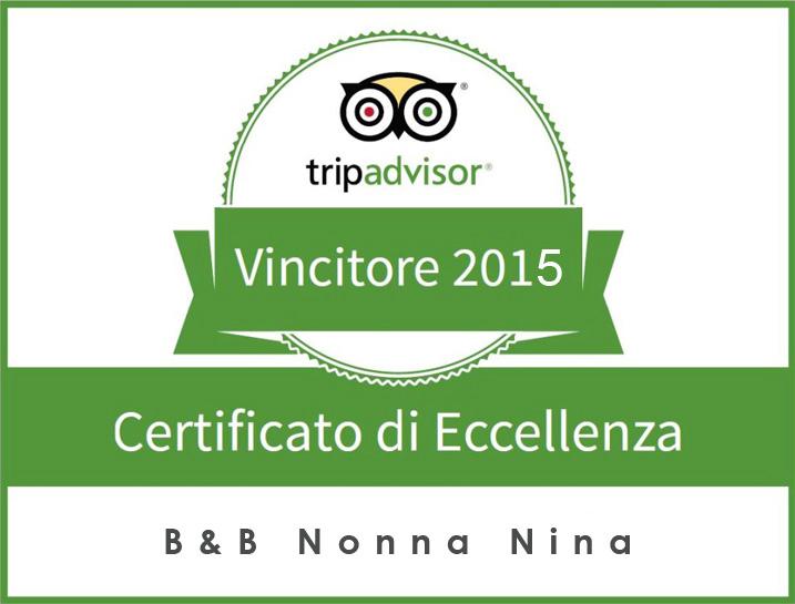 Certificato di Eccellenza 2015 B&B Nonna Nina